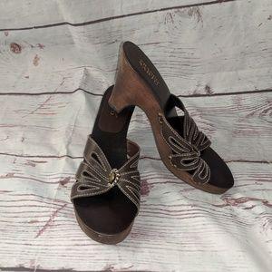 Franco Sarto Leather Wood Heeled Sandals Size 10